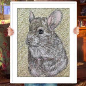 Custom Pet Portrait Chinchilla Gift