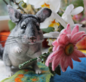 Custom Felted Chinchilla Replica