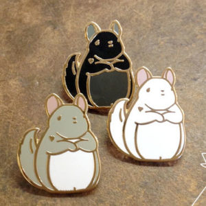 Gold Chinchilla Enamel Pin