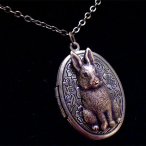 Antiqued Brass Bunny Rabbit Locket