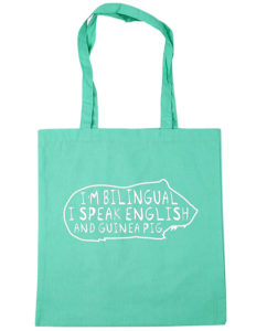 I Speak English and Guinea Pig Tote Bag Gift Idea