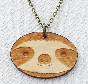 Laser Cut Wooden Sloth Face Necklace