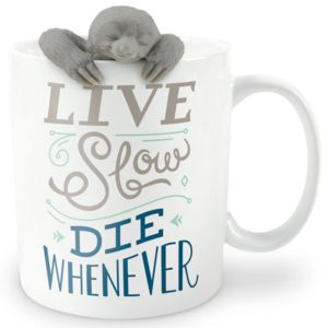 Live Slow Die Whenever Tea Infuser and Mug Sloth Gifts Set