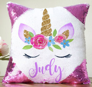 Personalized Unicorn Sequin Pillow