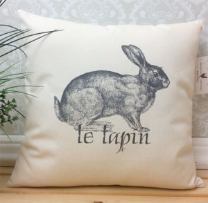 Vintage French Rabbit Illustration Pillow - Rabbit Gifts
