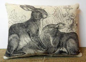 Vintage Rabbit Illustration Pillow Rabbit Gifts