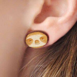Laser Cut Wooden Sloth Face Earrings