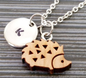 Wooden Hedgehog Initial Necklace