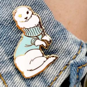 Ferret in a Turtleneck Sweater Enamel Pin