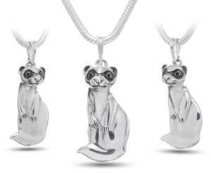 Silver Ferret Pendant Necklace