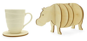 Wooden 3d Hippo Coaster Set Gift Idea