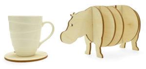 Wooden 3d Hippo Coaster Set Gift Idea