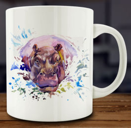 Watercolor Hippo Mug