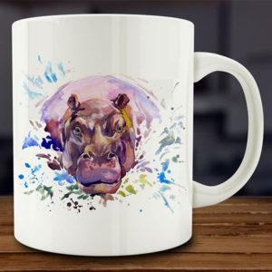 Watercolor Hippo Mug