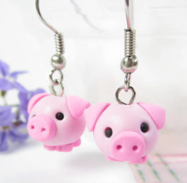Pink Pig Earrings Gift Idea