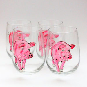 Hand Painted Pig Wine Glass Gift