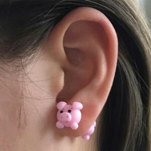 Pink Pig Earrings Gift Idea