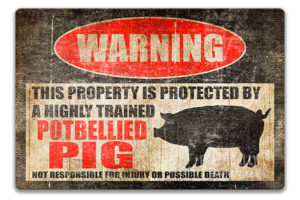 Potbellied Pig Pet Warning Sign