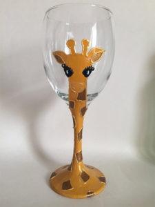 Handpainted Giraffe Wine Glass