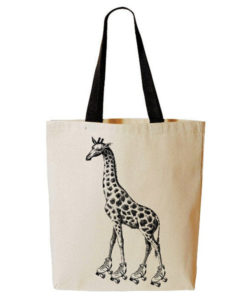 Roller Skating Giraffe Tote Bag